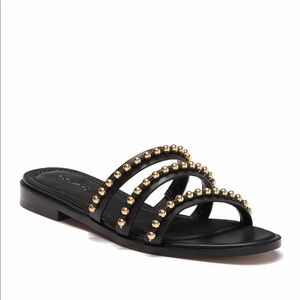 Coach Isa Studded Leather Slide Sandal Black 9.5